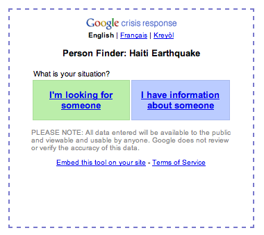 Google - Disaster Relief in Haiti - Screen shot 2010-01-16 at 18.10.30